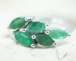 Earthy 10K White Gold Emerald Ring Z  B - RE 12448