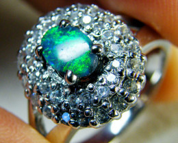 BEAUTIFUL SOLID  BLACK OPAL SILVER RING SIZE R.5 SCA1648