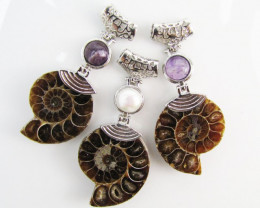 220 Cts PARCEL DEAL THREE AMMONITE PENDANTS MJA 1114