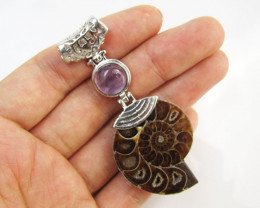 85 Cts AMMONITE PENDANT WITH NICE AMETHYST MJA 1112