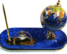 DESK TOP GEMSTONE GLOBE 11 CM CLOCK AND PEN TW 1025