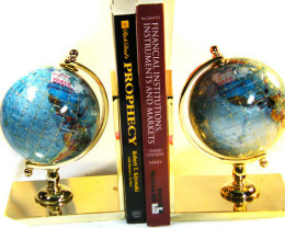 PAIR GEMSTONE GLOBE PACIFIC BLUE BOOK ENDS TW1050