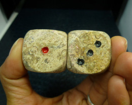 450 CTS PAIR DICE IN MOROCCAN SEA FOSSIL MA 865