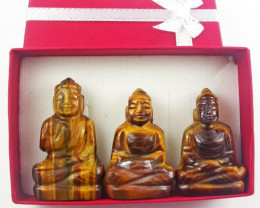 Three Tiger eye gemstone buddhas in gift box BU535