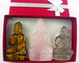 Three gemstone buddhas in gift boxBU 539