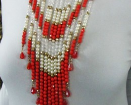ORANGE BESDS N HIGH LUSTER PEARL NECKLACET  QT 450
