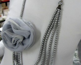 GREY LONG HIGH LUSTER PEARL NECKLACET  QT 449