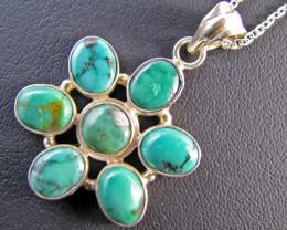 88 CtsTibetan Turquoise Pendant MJA 668