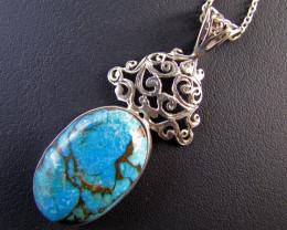 59 CtsTibetan Turquoise Pendant MJA 667