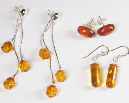 THREE BALTIC AMBER SILVER EARRINGS 34 TCW MYG 1091