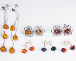 SIX BALTIC AMBER SILVER EARRINGS 64 TCW MYG 1076