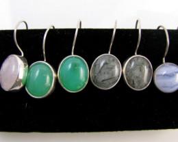 4 MIXED GEMSTONE EARRINGS-RE SELLERS PARCEL MJA1162