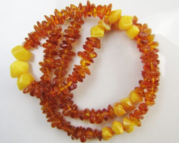 70 Cts Amber Necklace two tone MJA1135