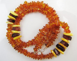 75 Cts Amber Necklace two tone MJA1139