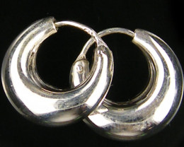 MODERN STYLE 15 MM LOOP STERLING SILVER EARRING MYT 532