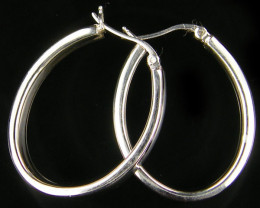 MODERN 30x25 MM LOOP STERLING SILVER EARRING MYT 495