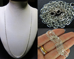 3 PIECES NECKLACE SILVER CHAIN 925 CHAIN 56CM CMT 25