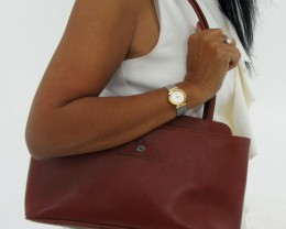 Gemstone Leather Like Brown Shoulder Bag OP 53