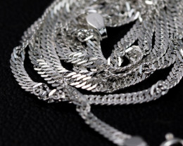 18 Inch, 48 cm 1.4 x2.5 mm Long Twisted Rope Silver chain . AM 1009