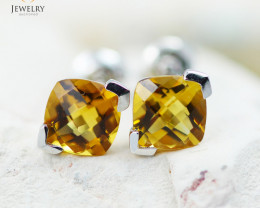 14 KW White Gold Citrine Earrings - 152 - E E3886 1500