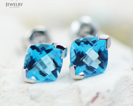 14 KW White Gold Blue Topaz Earrings - 151 - E E3886 1600