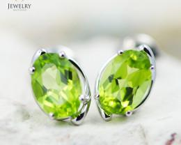 14 KW White Gold Peridot Earrings - 149 - E E11391 1250 PER