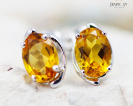 14 KW White Gold Citrine Earrings - 147 - E E11391 1250 CIT