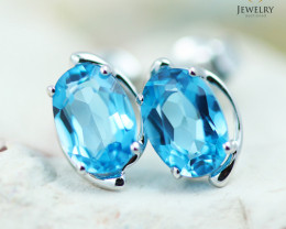14 KW White Gold Blue Topaz Earrings - 146 - E E11391 1300