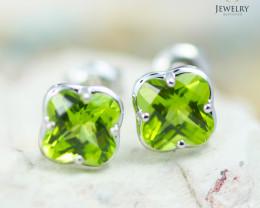 14 KW White Gold Peridot Earrings - 144 - E E3991 1400