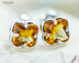 14 KW White Gold Citrine Earrings - 142 - E E3991 1300