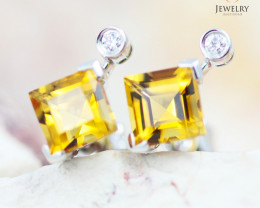 14 KW White Gold Citrine & Diamond Earrings - 137 - E E4557 1550