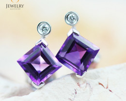 14 KW White Gold Amethyst & Diamond Earrings - 135 - E E4557 1550