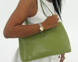 Gemstone Leather Like Green Shoulder Bag OP 54