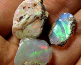 16.2  Cts   3 pcs Ethiopian Rough Opal   QOM 648