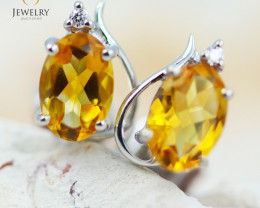 14 KW White Gold Citrine & Diamond Earrings - 132 - E E9753 1300