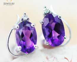 Beautiful 14 k Gold Amethyst Earrings  MJA1129