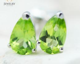 14K White Gold Peridot Earrings - 129 - E E11774 1400