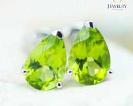 14K White Gold Peridot Earrings - 119 - E E12245 1850