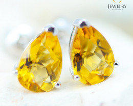 14K White Gold Citrine Earrings - 117 - E E12245 1550