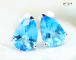 14K White Gold Blue Topaz Earrings - 116 - E E12245 1650