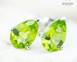 14K White Gold Peridot Earrings - 114 - E E729 1750