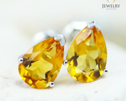 14K White Gold Citrine Earrings - 112 - E E729 1450
