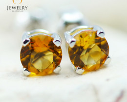 14K White Gold Citrine Earrings - 107 - E E4046 1100