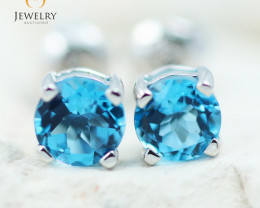 14K White Gold Blue Topaz Earrings - 106 - E E4046 1150 TOPAZ