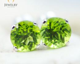 14K White Gold Peridot Earrings - 104 - E E4046 1850