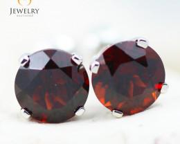 14K White Gold Garnet Earrings - 103 - E E4046 1550