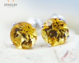 14K White Gold Citrine Earrings - 102 - E E4046 1500