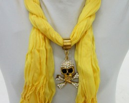 YELLOW SCARF WITH FOCAL MOTIF  SKULL  QT 483