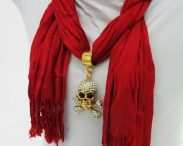RED SCARF WITH FOCAL MOTIF SKULL  QT 485