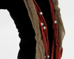 LONG  SCARF WITH FOCAL MOTIF  BEADS  QT 486